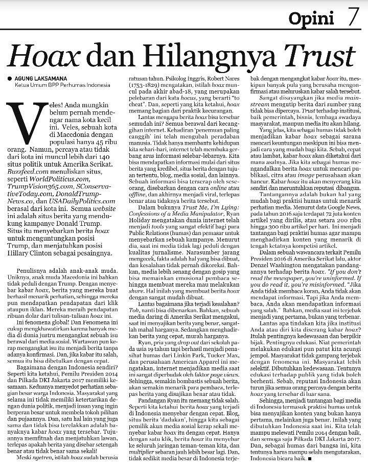 Hoax dan Hilangnya Trust - Agung Laksamana, Opini - Republika 11022017
